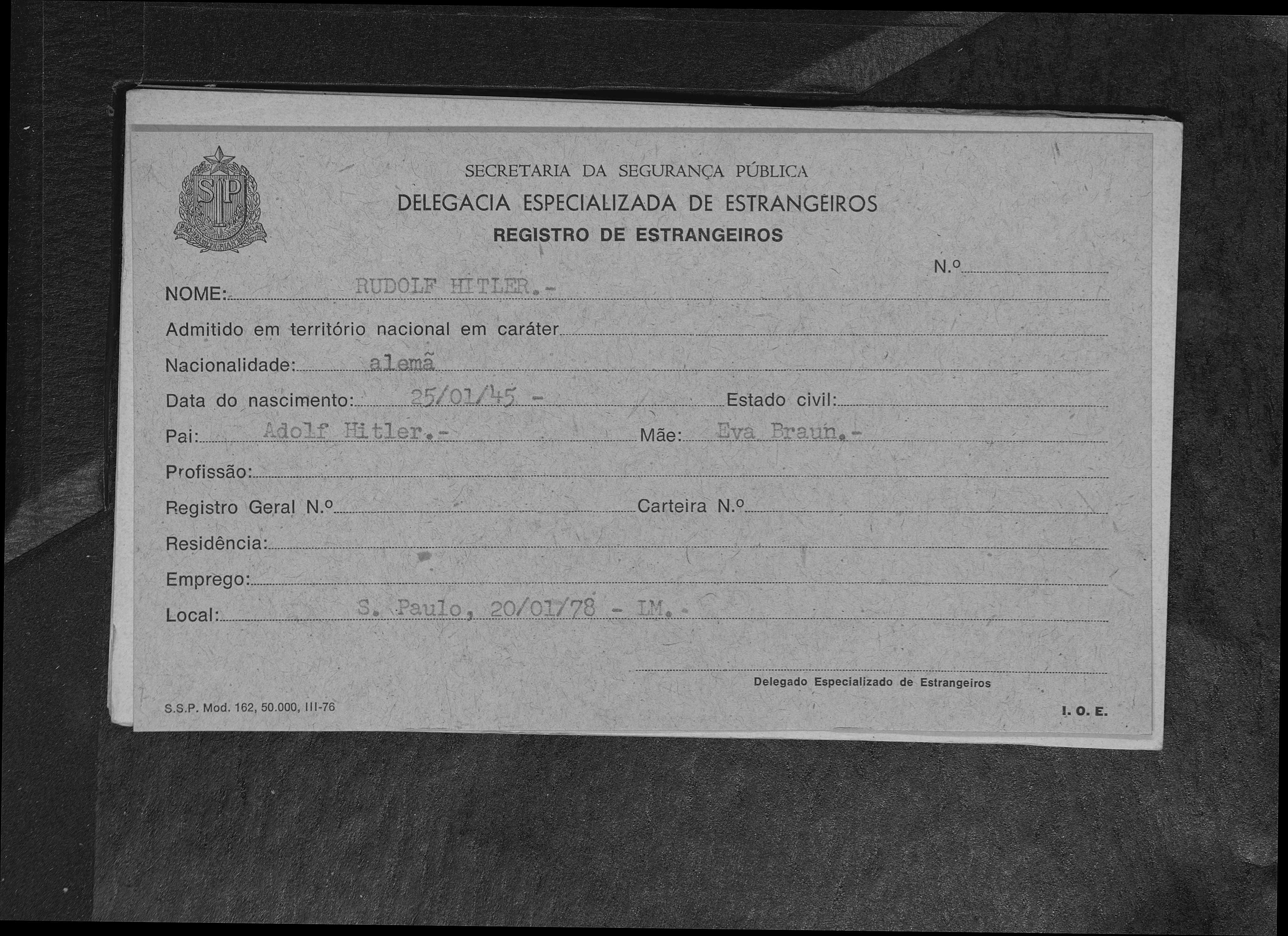 Rudolf Hitler Immigration 1978 São Paulo, São Paulo, Brazil  Germany 25 Jan 1945  Adolf Hitler Eva Braun